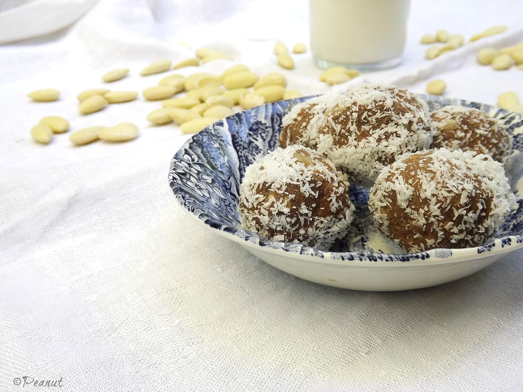 Homemade almond milk and raw almon pulp truffles