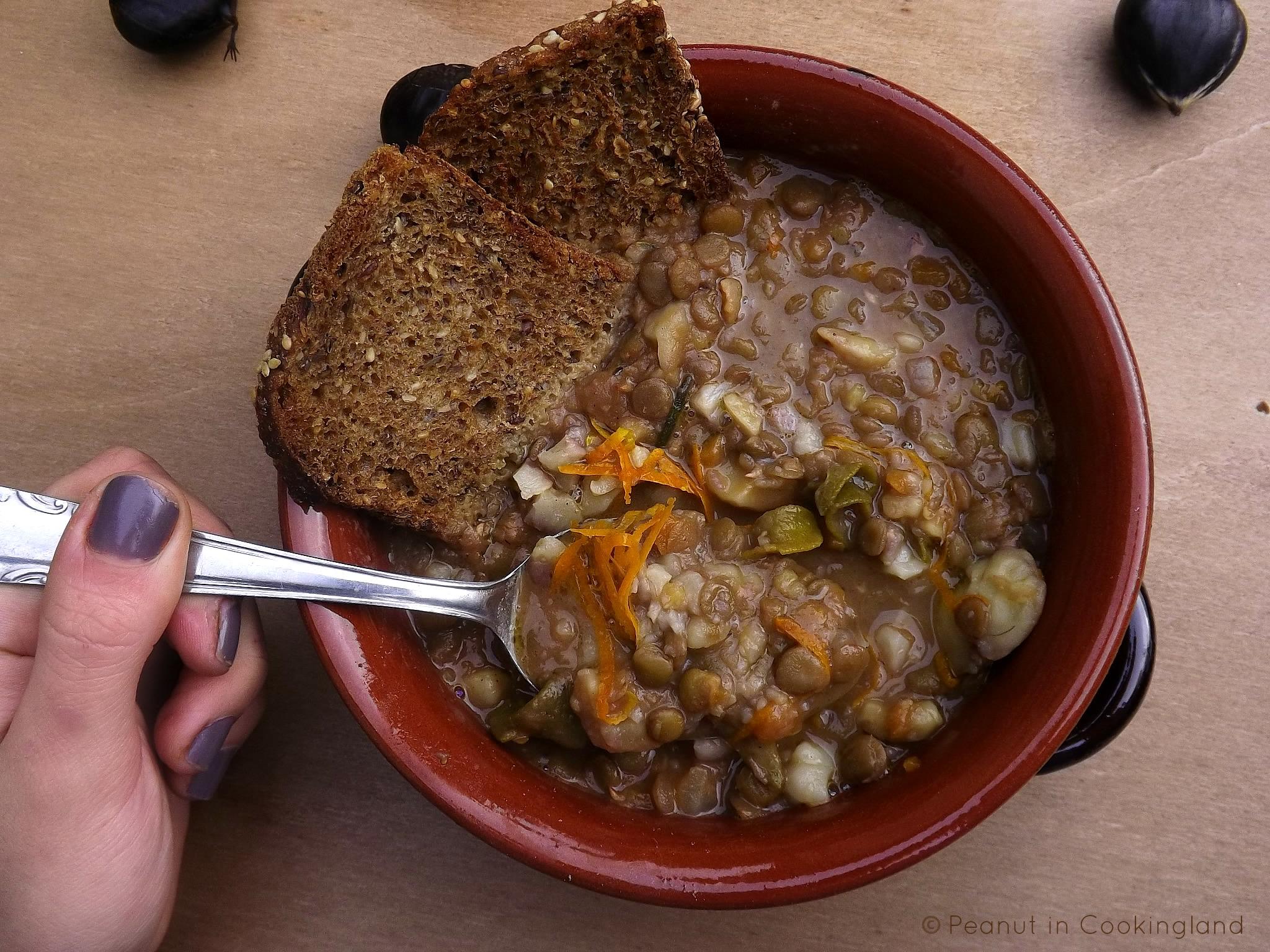 Lentil and chestnut soup with orange zest