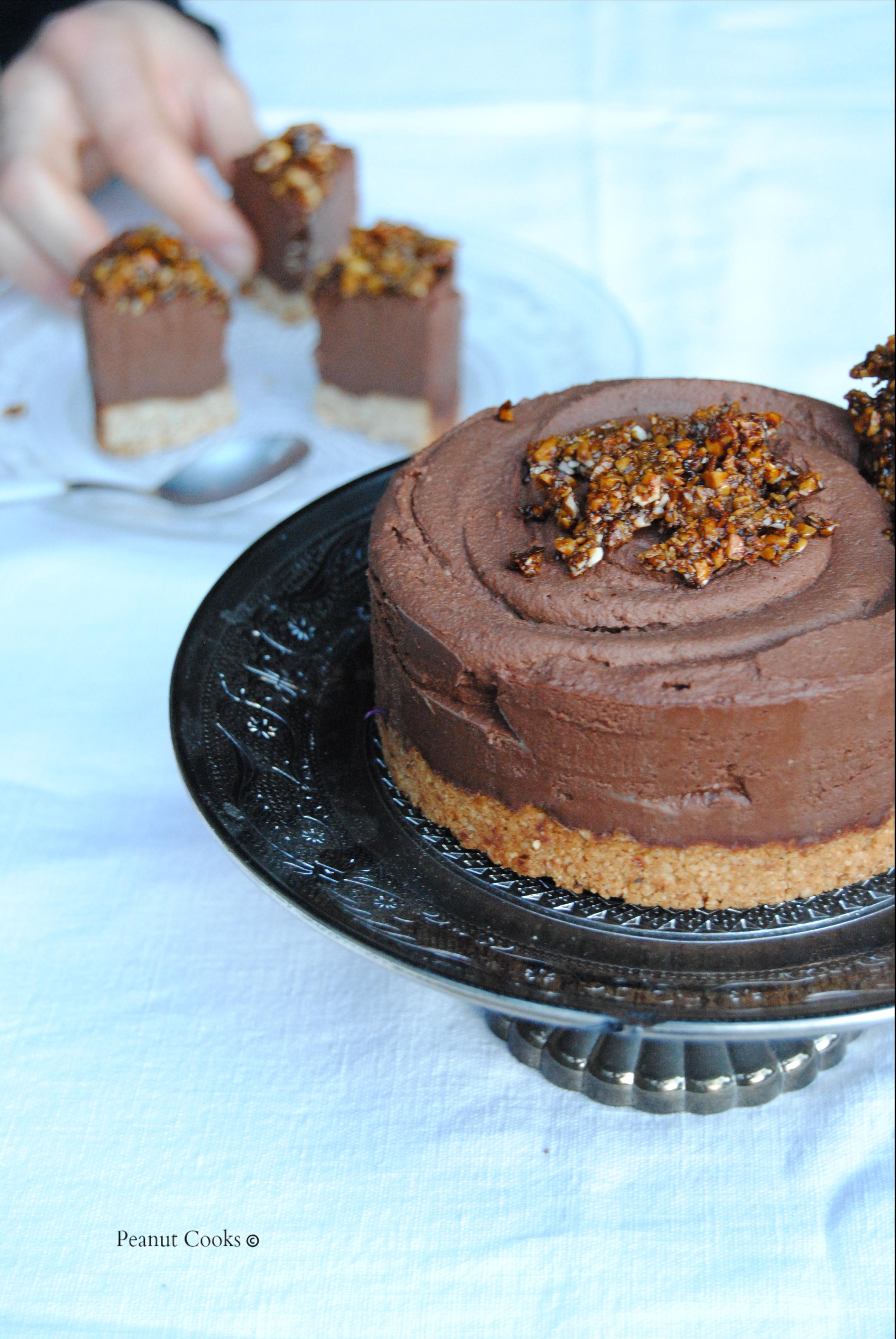 Torta semifreddo con mousse al cioccolato e croccantino di nocciole