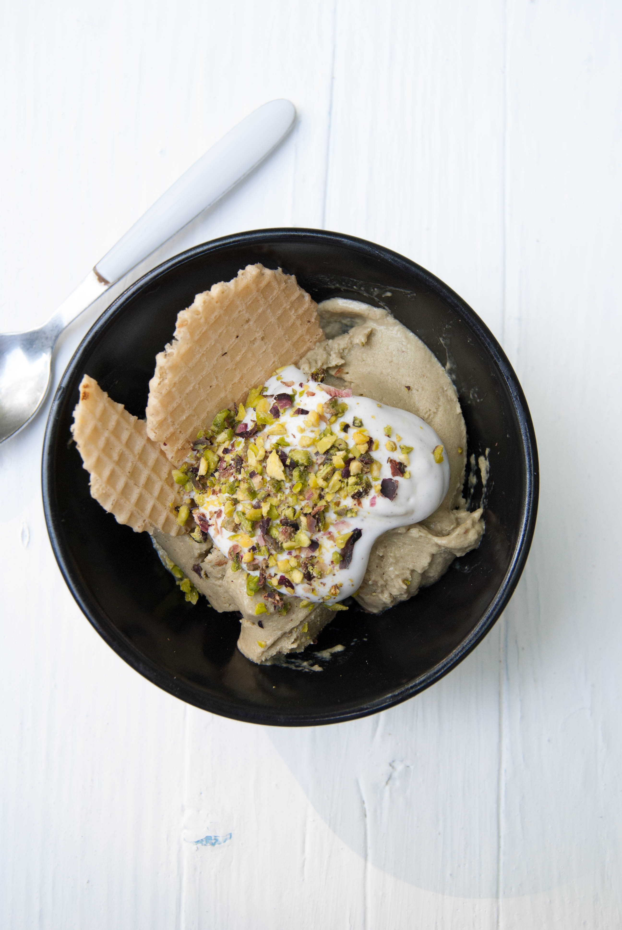 Pistachio gelato with avocado