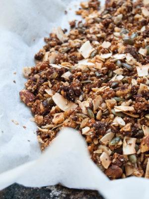 Paleo granola di frutta secca e semi con maca, mesquite e fichi secchi